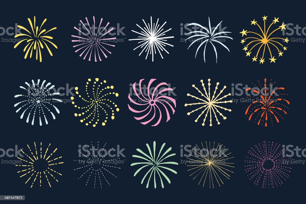 Set of hand drawn fireworks and sunbursts, isolated vectors vector art illustration