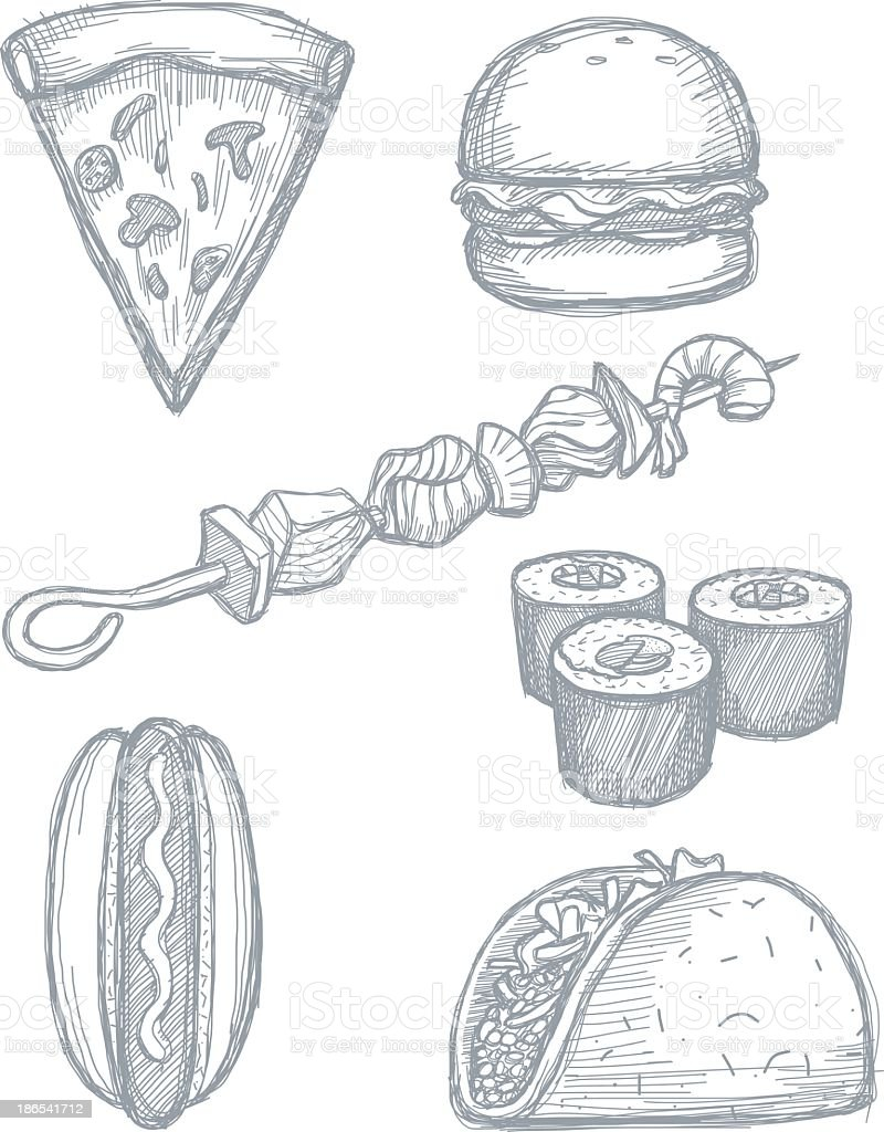 Set of hand drawn food doodles on white background royalty-free stock vector art