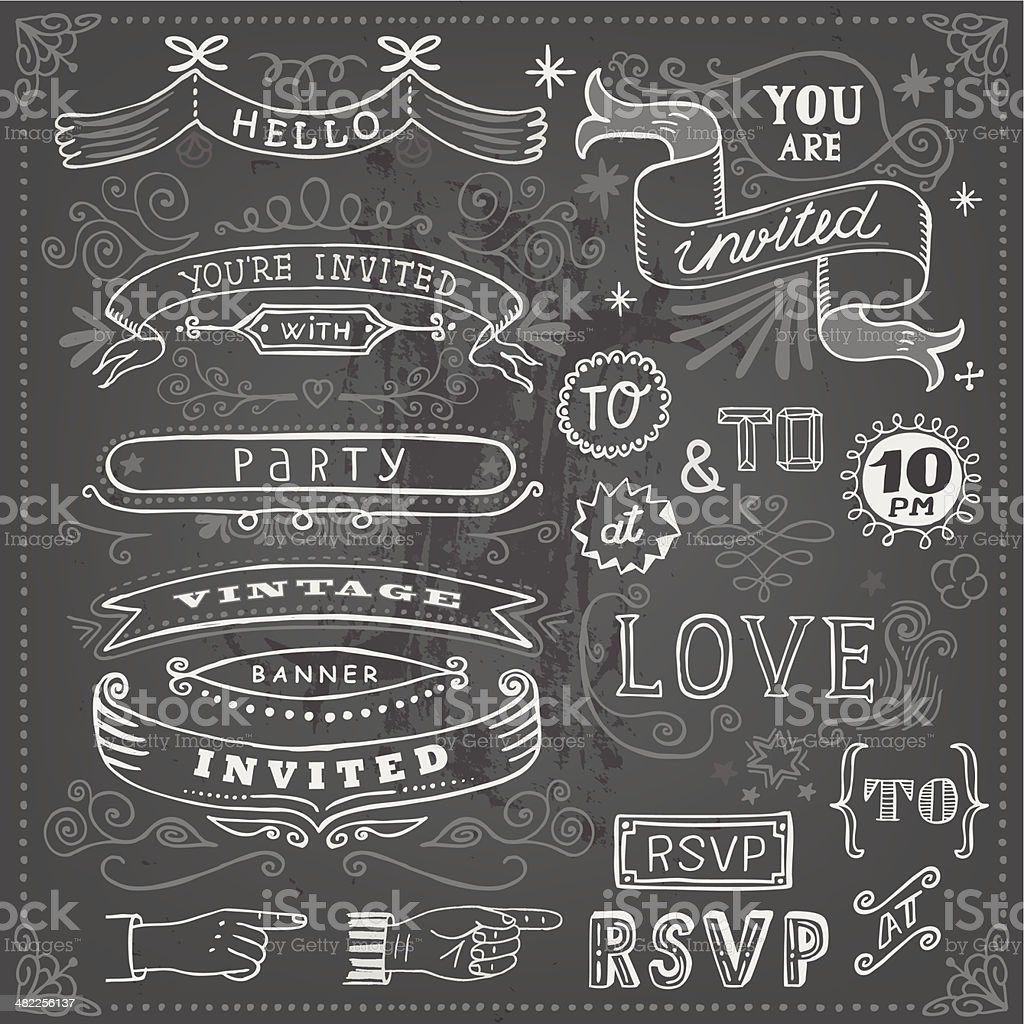 Set of hand drawn frames and banners on chalkboard royalty-free stock vector art