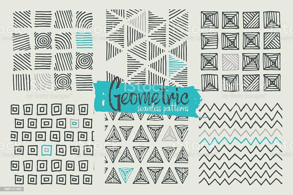 Set of hand drawn geometric seamless patterns vector art illustration