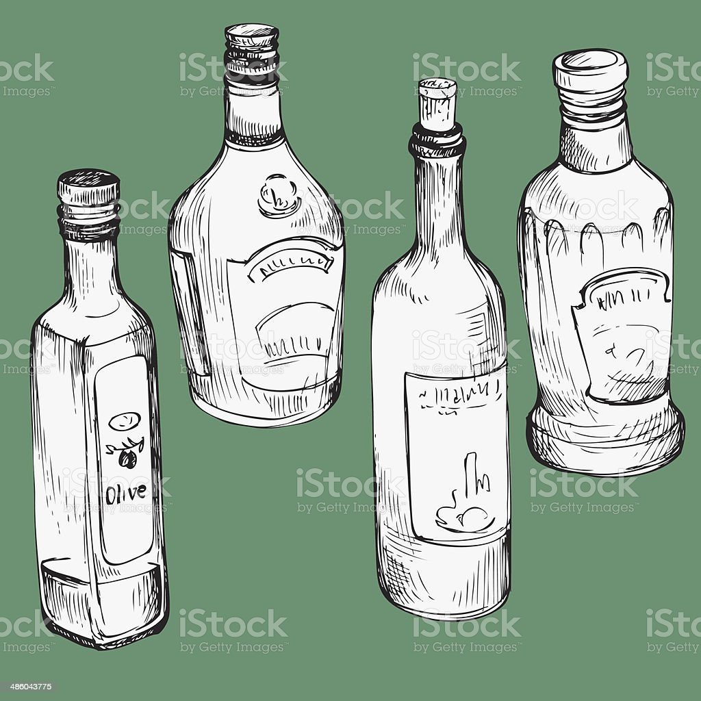 set of hand drawn glass bottles vector art illustration