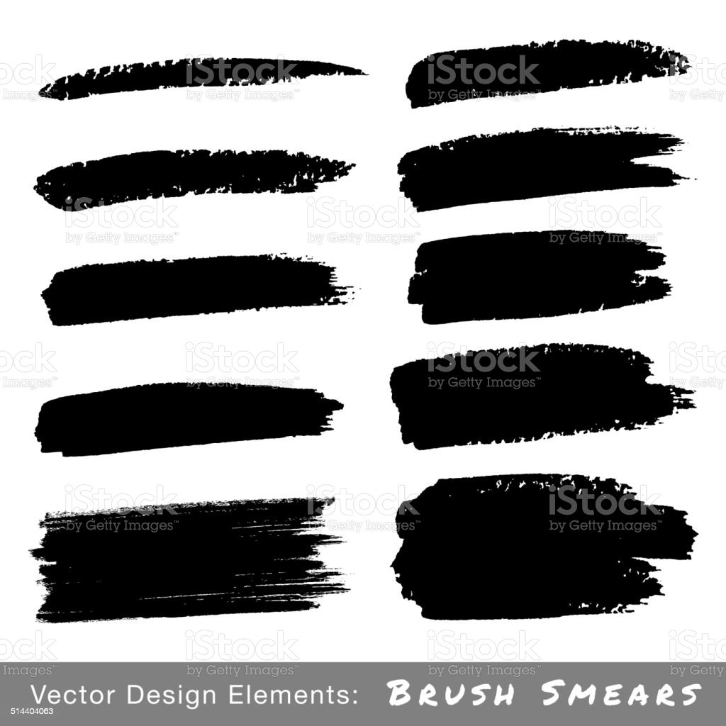 Set of Hand Drawn Grunge Brush Smears vector art illustration