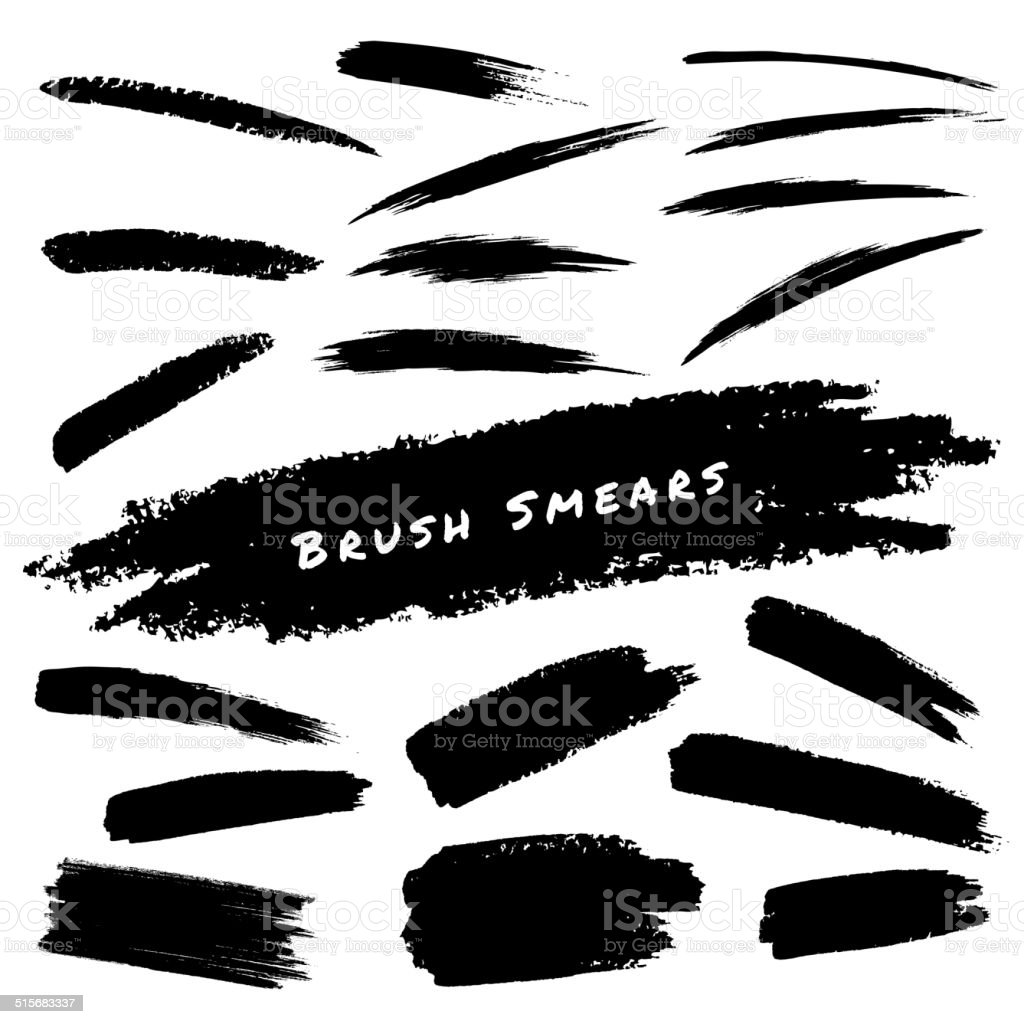 Set of Hand Drawn Grunge Brush Smears vector art illustration