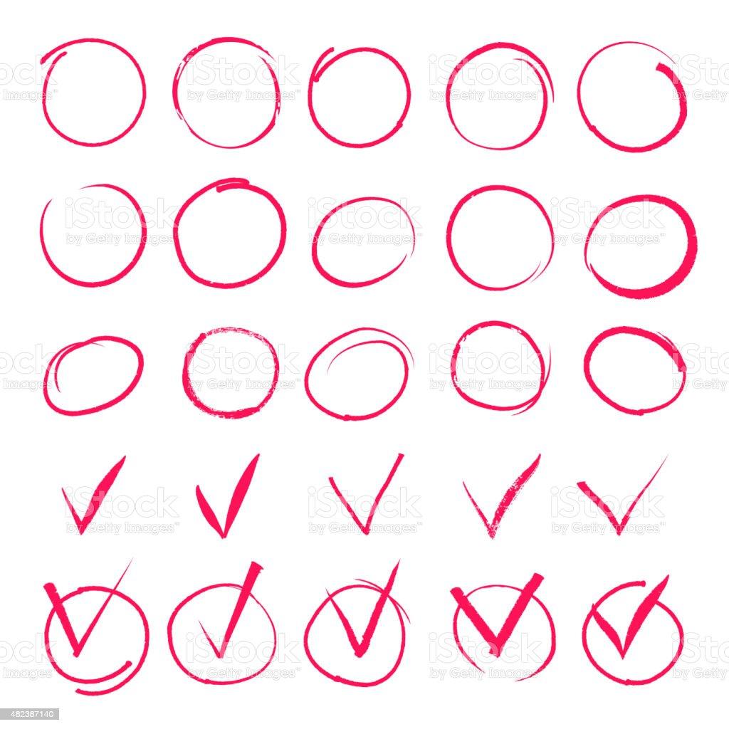 Set of hand drawn highlight red circles and check mark vector art illustration