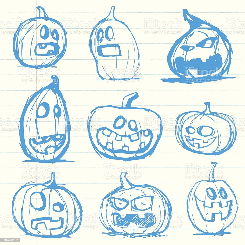 Set of hand drawn jack o lantern halloween pumpkins vector art illustration
