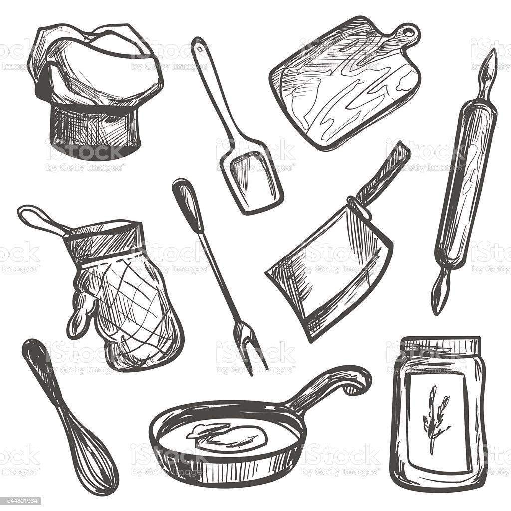 Set of hand drawn kitchen objects vector art illustration
