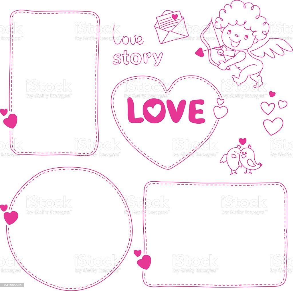 Set of hand drawn love story quote dashed line boxes vetor e ilustração royalty-free royalty-free