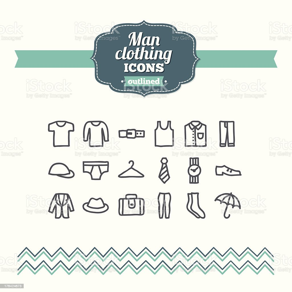 Set of hand drawn man clothing icons royalty-free stock vector art