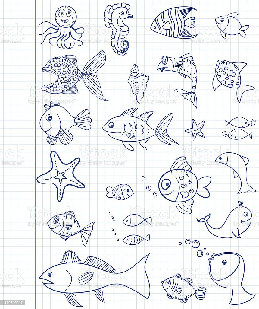 Set of hand drawn marine animals royalty-free stock vector art
