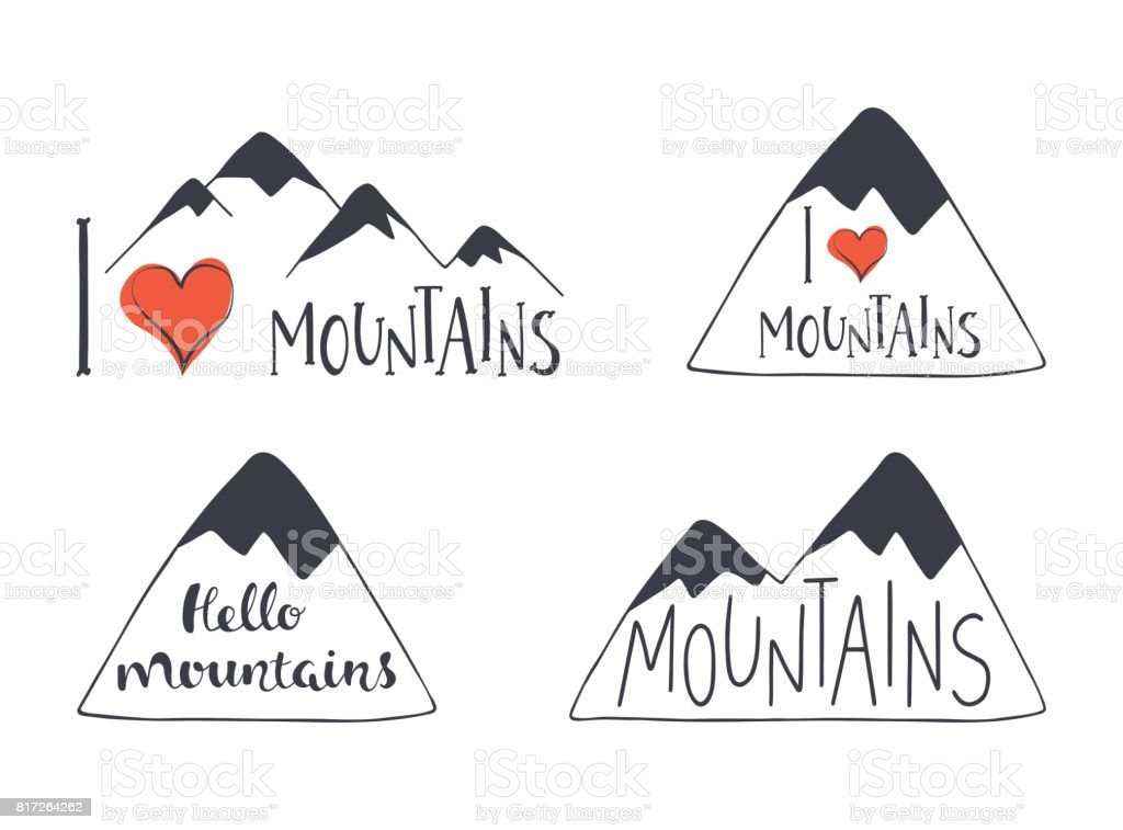 Set of hand drawn mountain silhouettes with lettering. Phrase I love mountains. vector art illustration