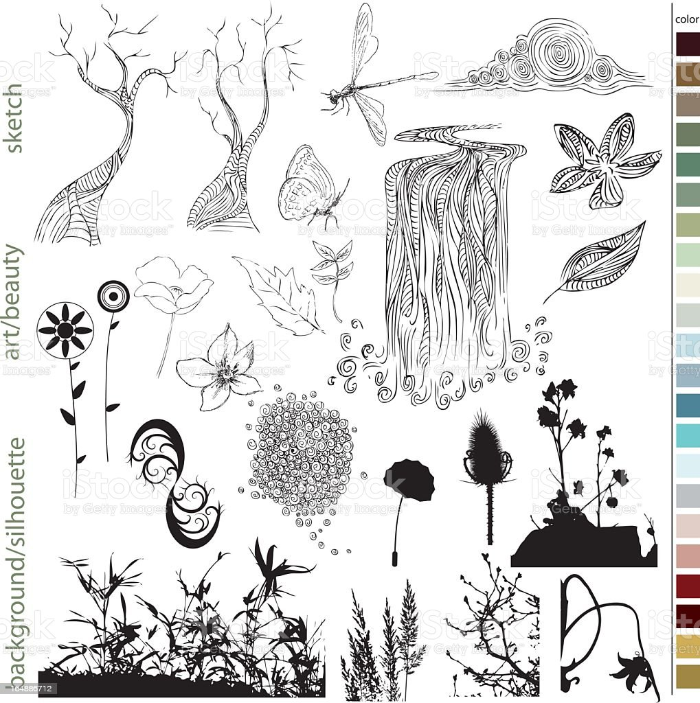 Set of hand drawn natural elements royalty-free stock vector art