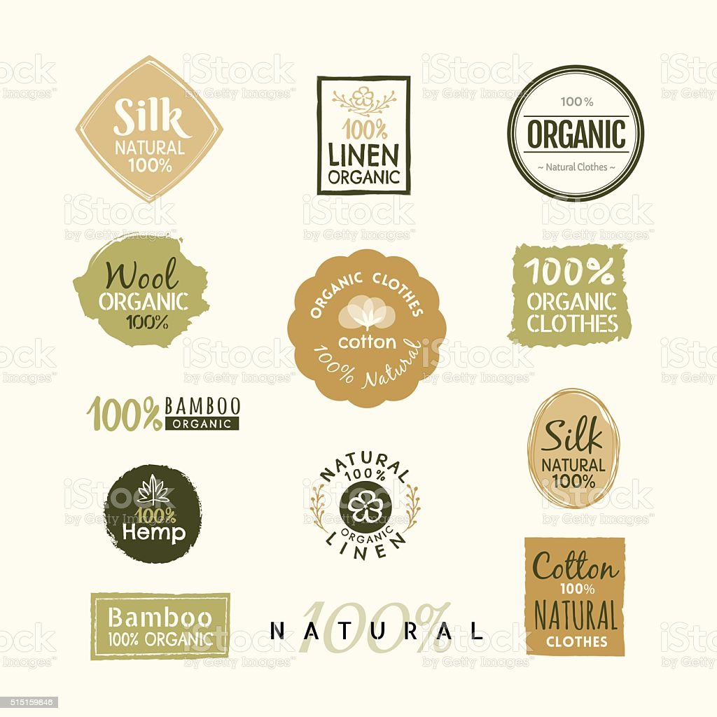 Set of hand drawn organic clothes logo label badge design vector art illustration