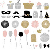 Set of hand drawn party elements. Doodle gift boxes, balloons.