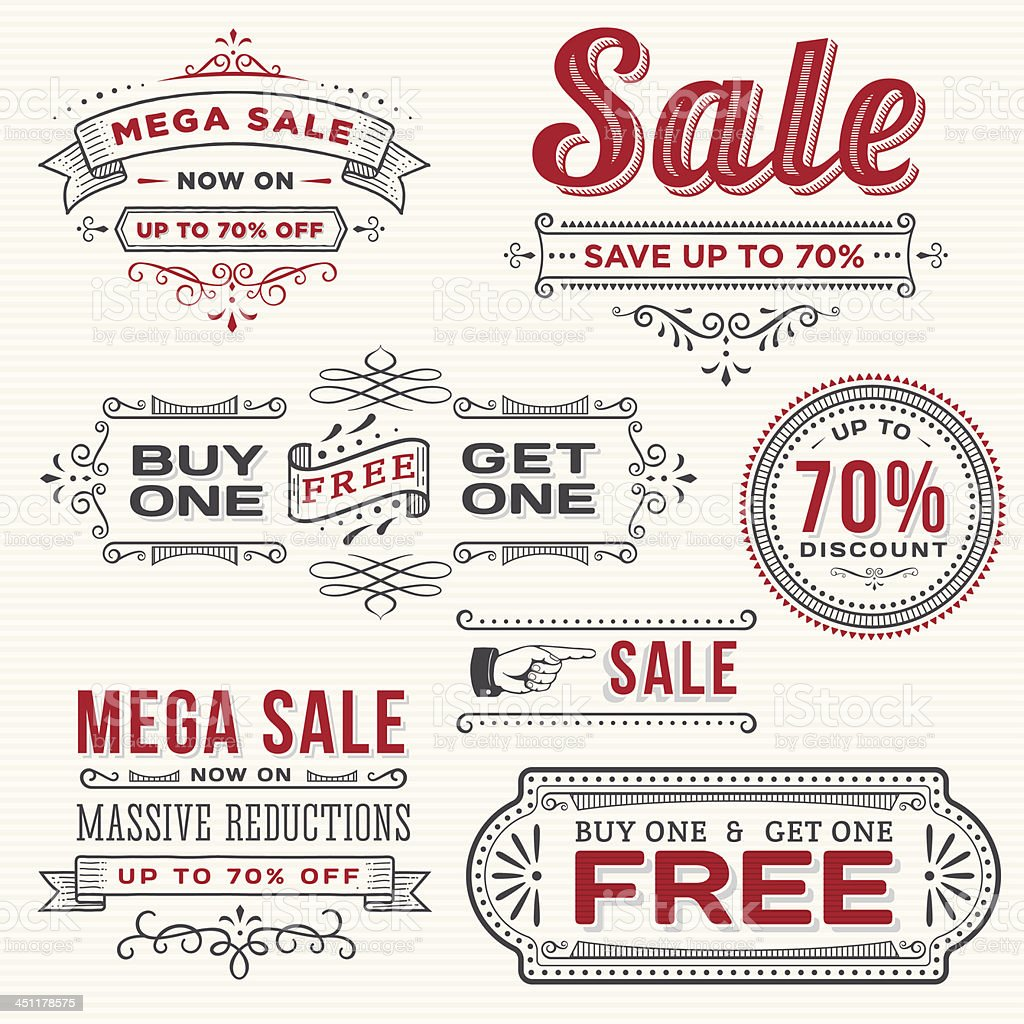 Set of Hand Drawn Sale Banners royalty-free stock vector art