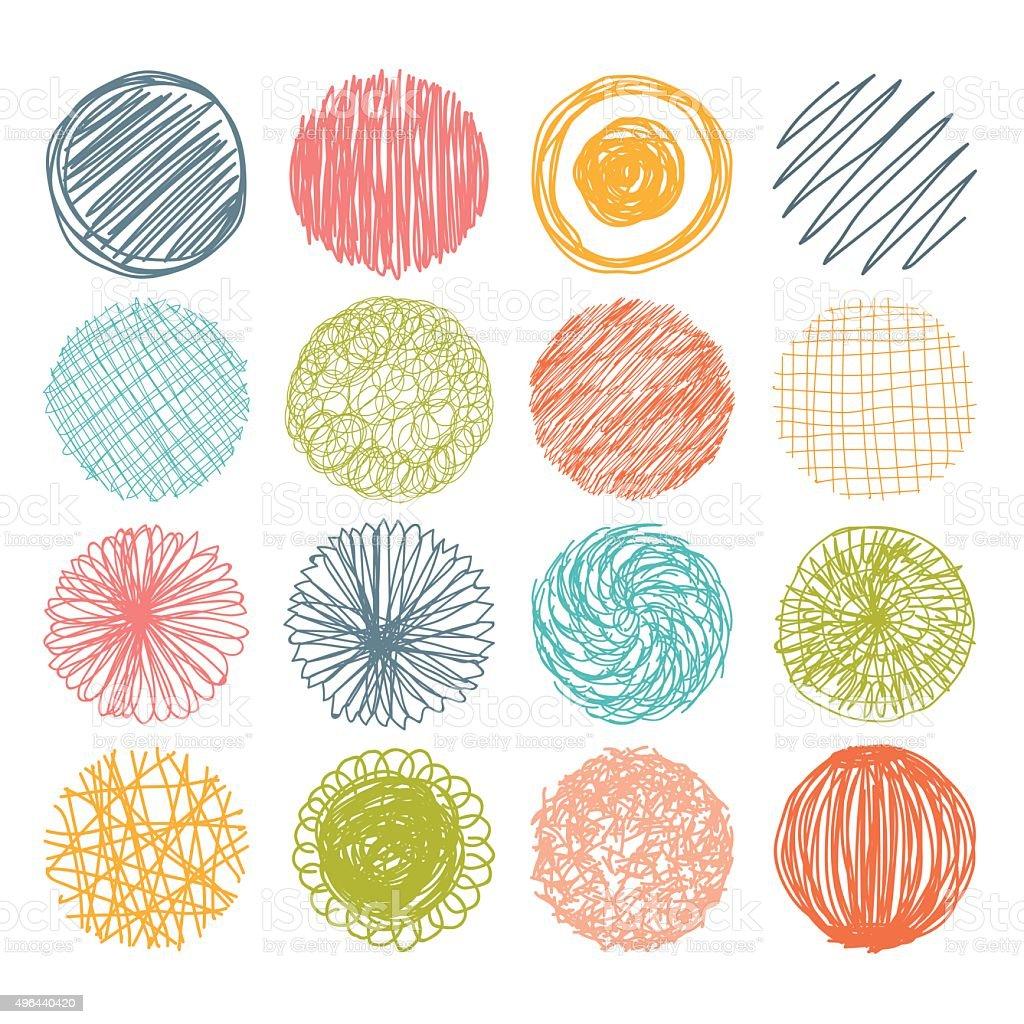 Set of hand drawn scribble circles. Vector design elements. vector art illustration