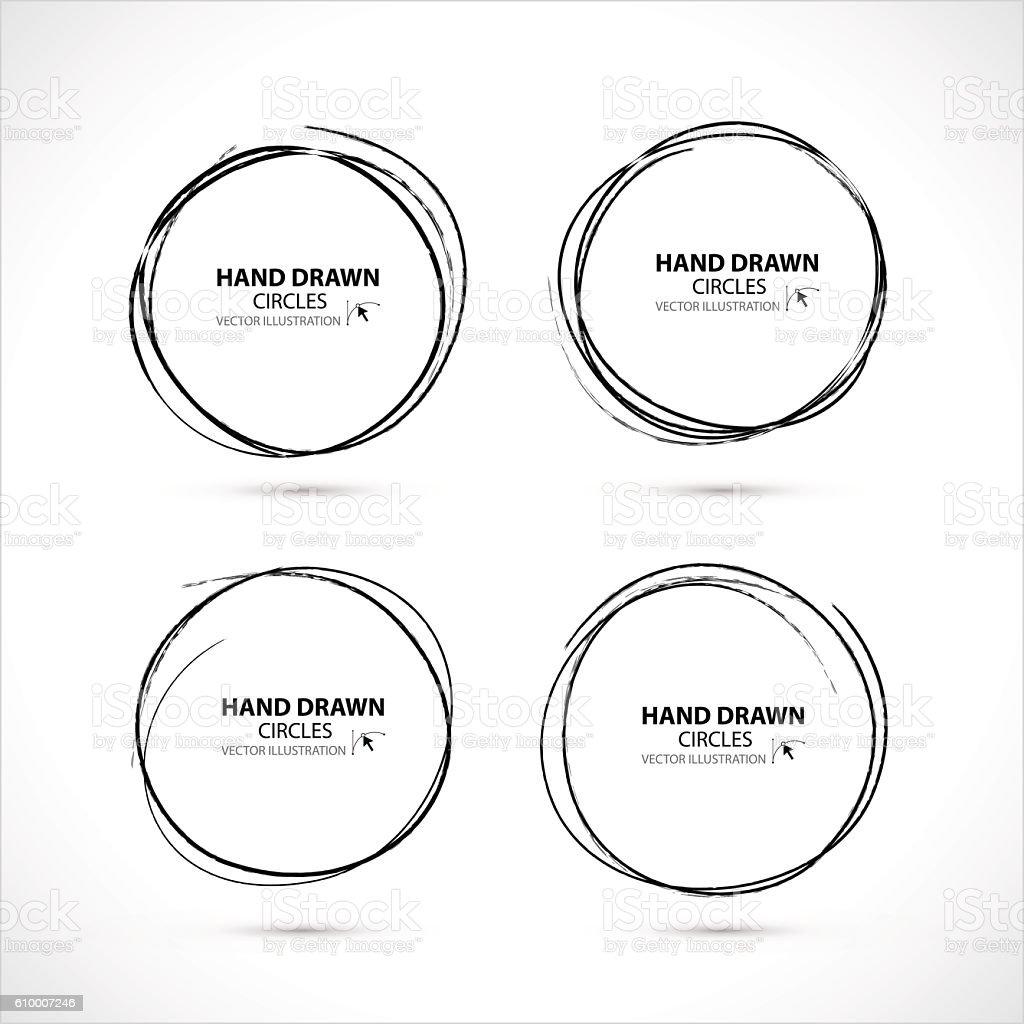 Set of Hand Drawn Scribble Circles, vector design elements vector art illustration