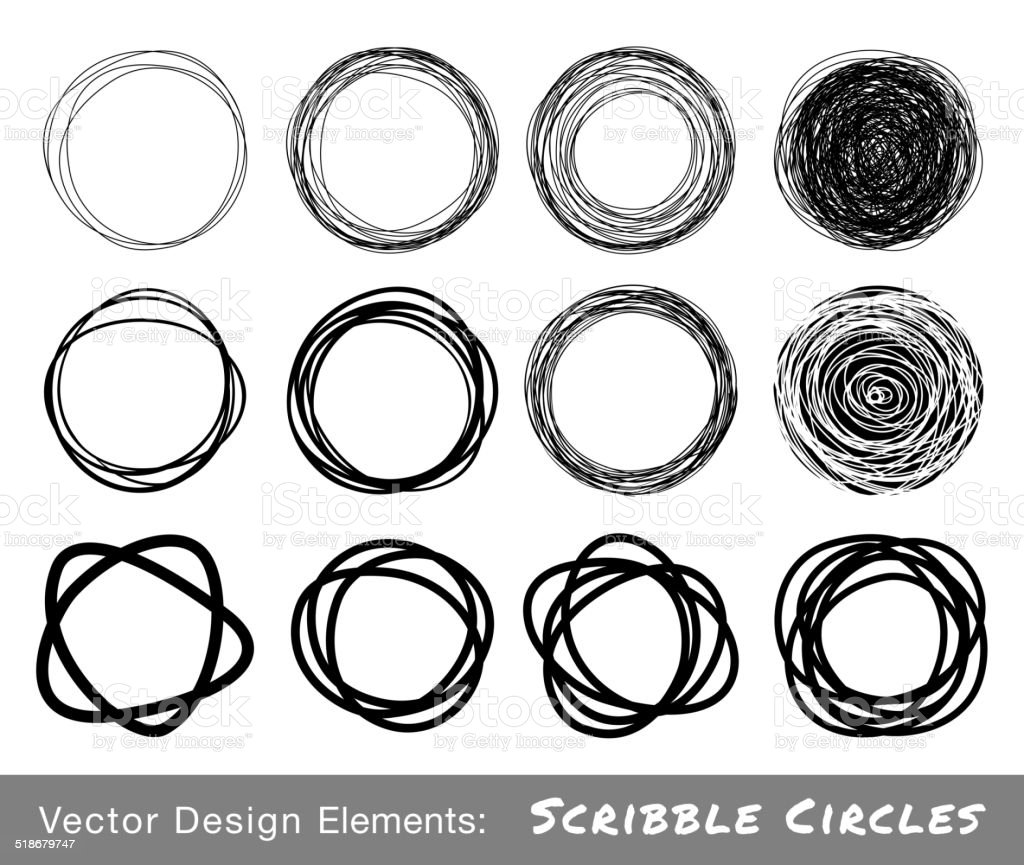Set of Hand Drawn Scribble Circles vector art illustration