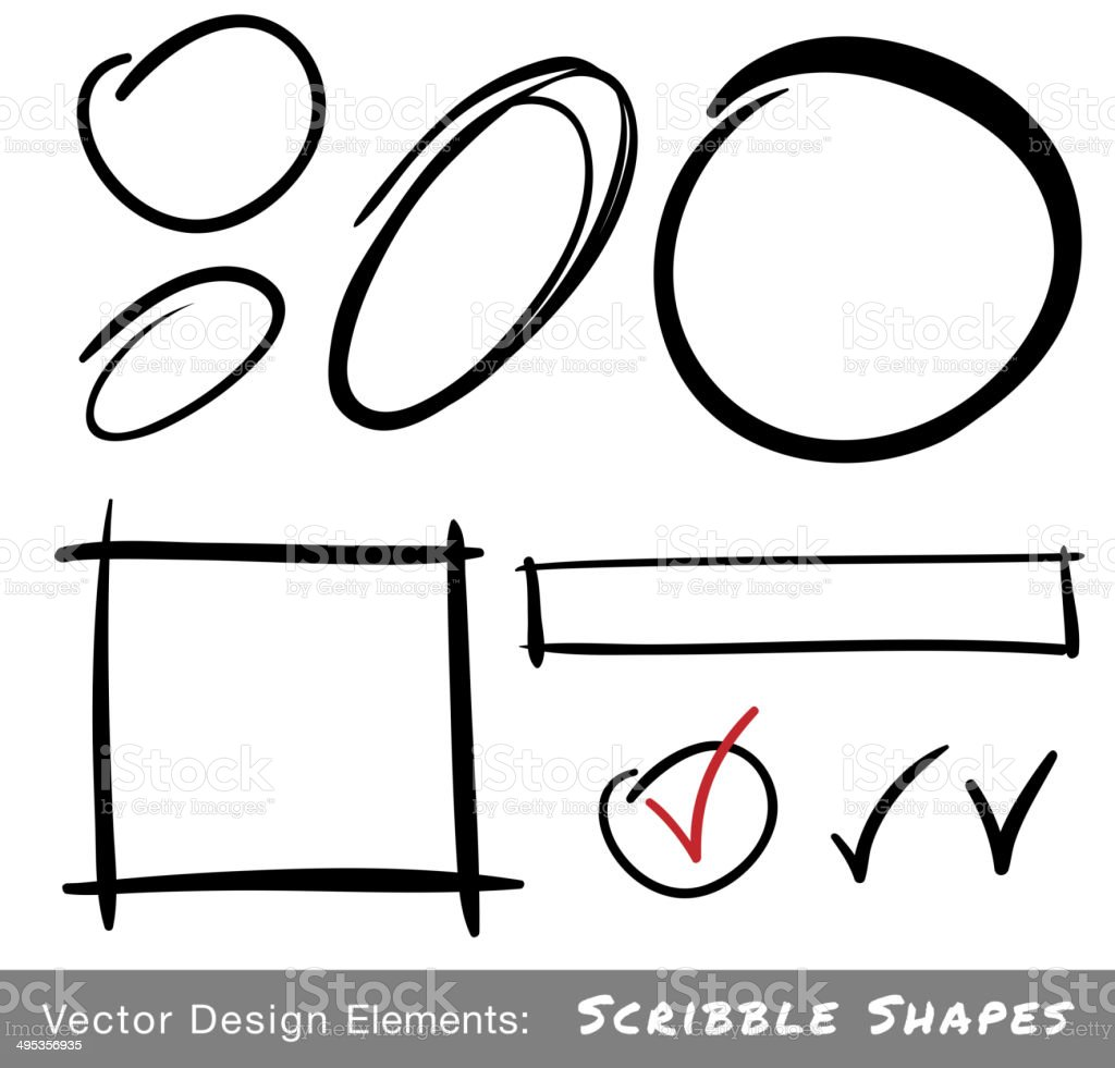 Set of Hand Drawn Scribble Shapes vector art illustration