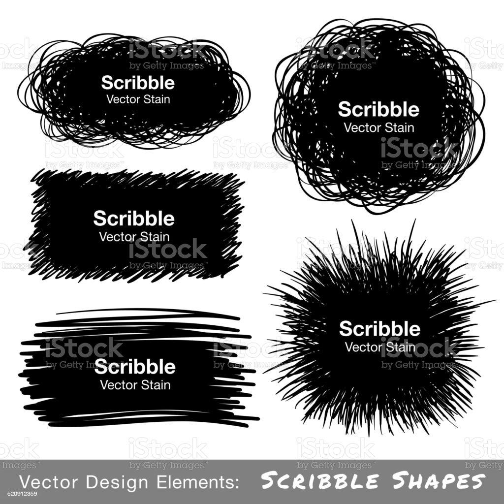Set of Hand Drawn Scribble Shapes vector art illustration