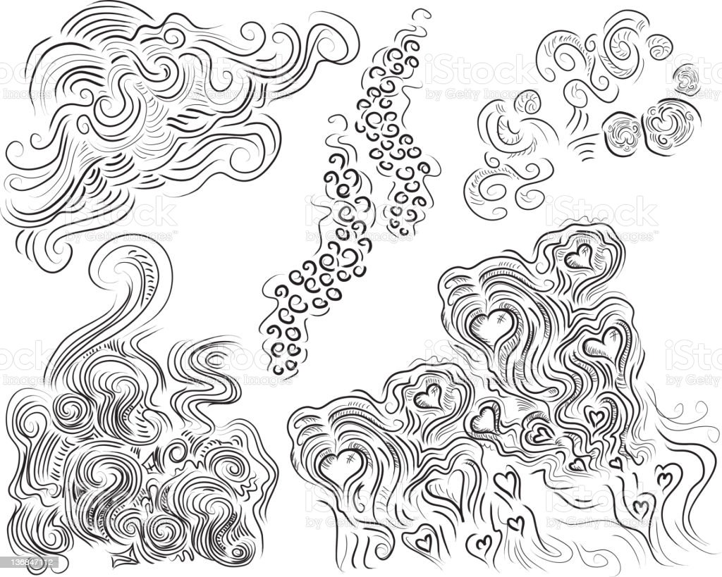 Set of hand drawn scroll designs vector art illustration