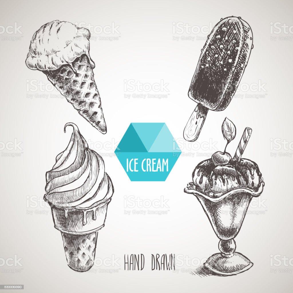 Set of hand drawn sketch style ice cream. vector art illustration