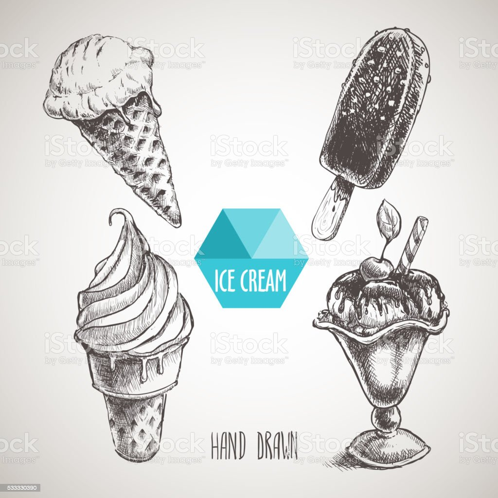 Set of hand drawn sketch style ice cream. vector art illustration