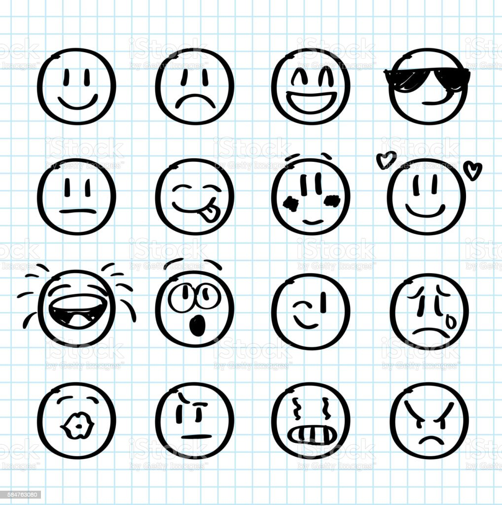 Set of hand drawn smiles on realistic paper vector art illustration