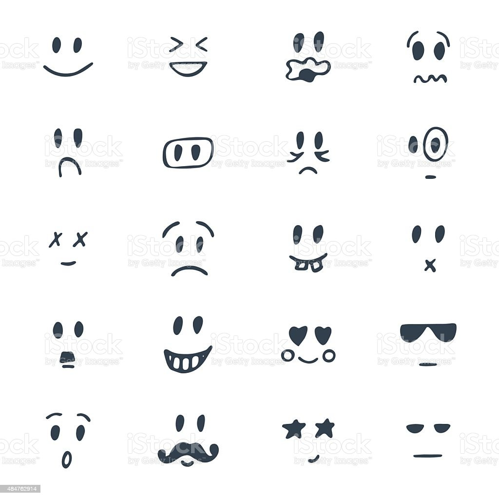 Set of hand drawn smiley faces. Sketched facial expressions set vector art illustration