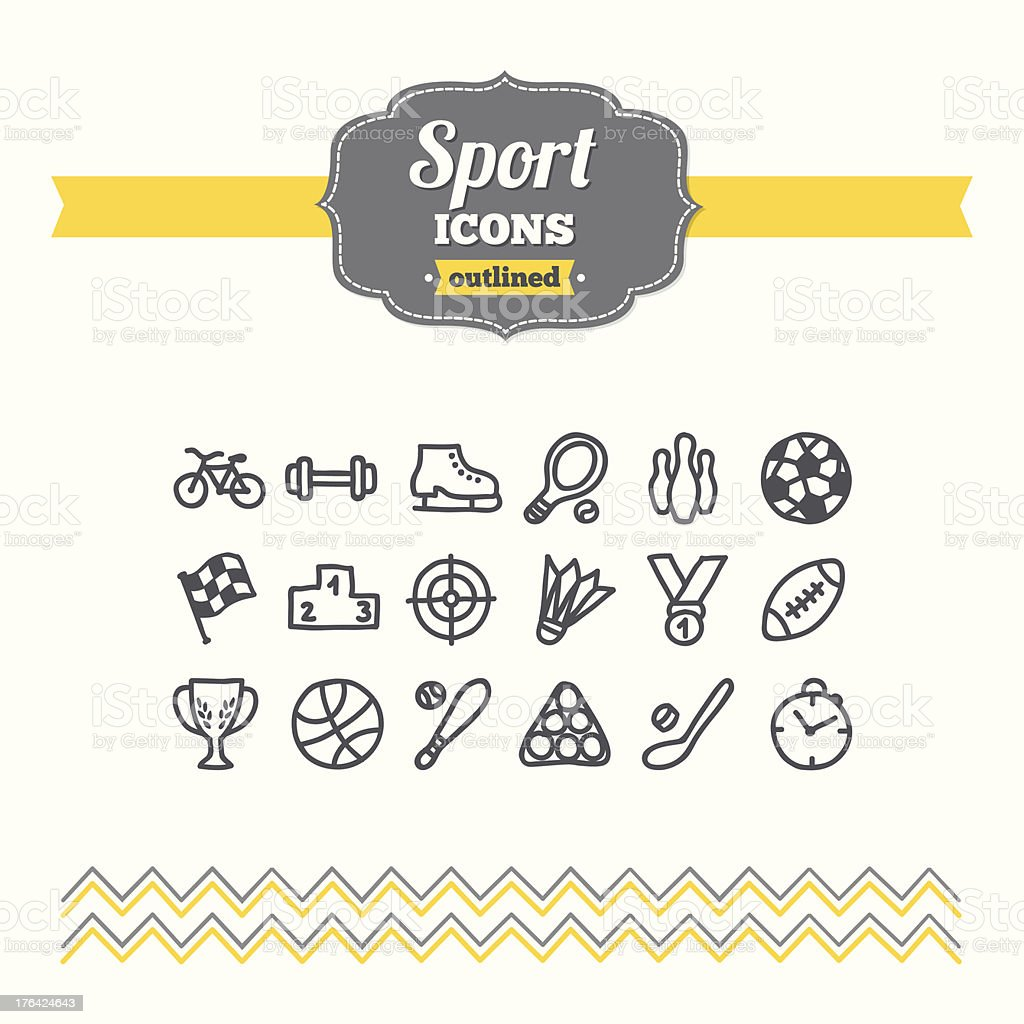 Set of hand drawn sport icons royalty-free stock vector art