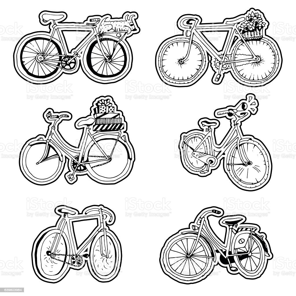 Set of Hand Drawn Stickers with Retro Bicycle. vector art illustration