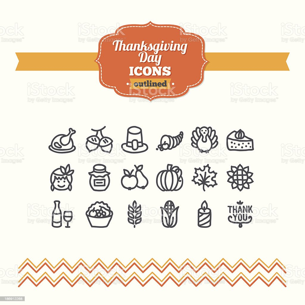 Set of hand drawn Thanksgiving Day icons vector art illustration