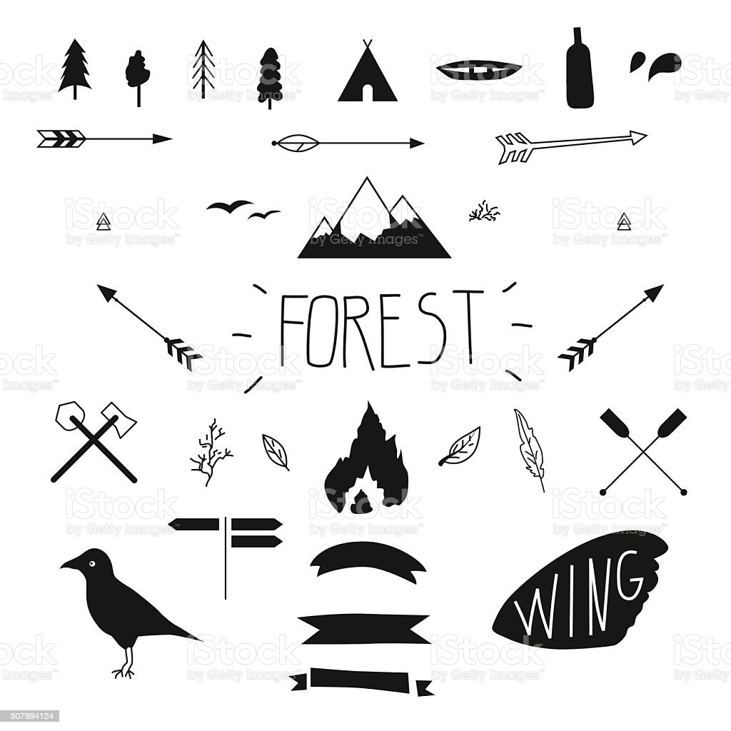 Set of hand drawn tribal design elements. Hike. vector art illustration