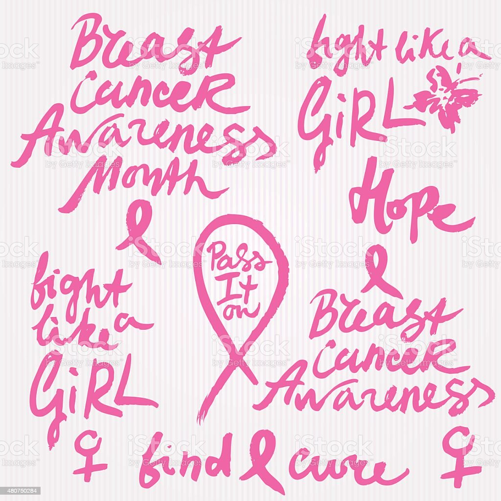 Set of Hand Drawn Vector Breast Cancer Awareness Calligraphy vector art illustration