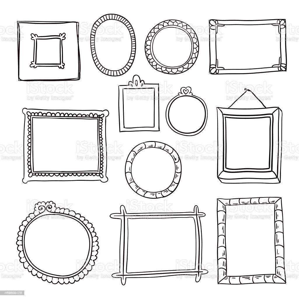 Set of hand drawn vector frames. vector art illustration