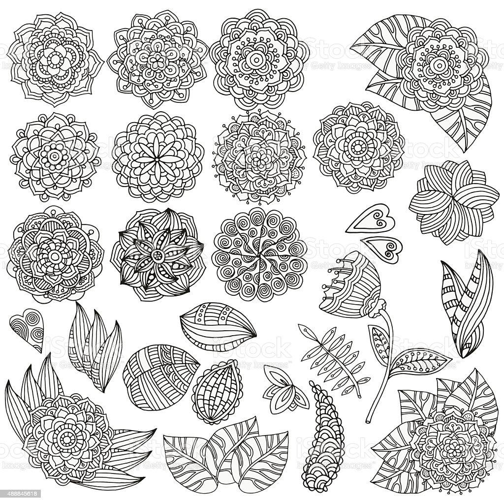 Set of hand drawn vector mandalas, flowers, leaves. vector art illustration