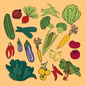 SEt of hand drawn vector vegetables
