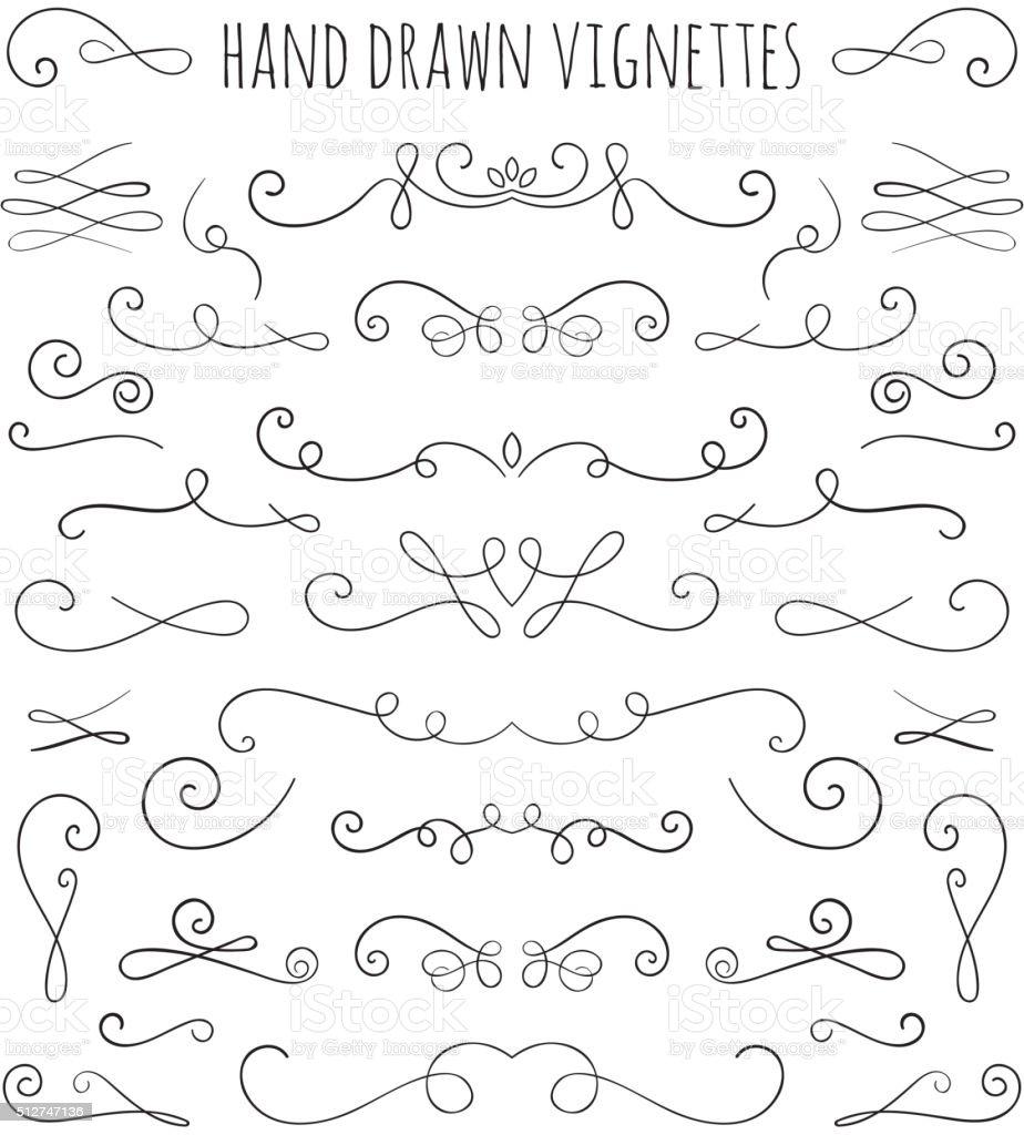 Set of hand drawn vignettes in retro style. vector art illustration