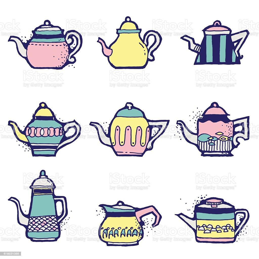 Set of hand drawn vintage tea pots vector art illustration