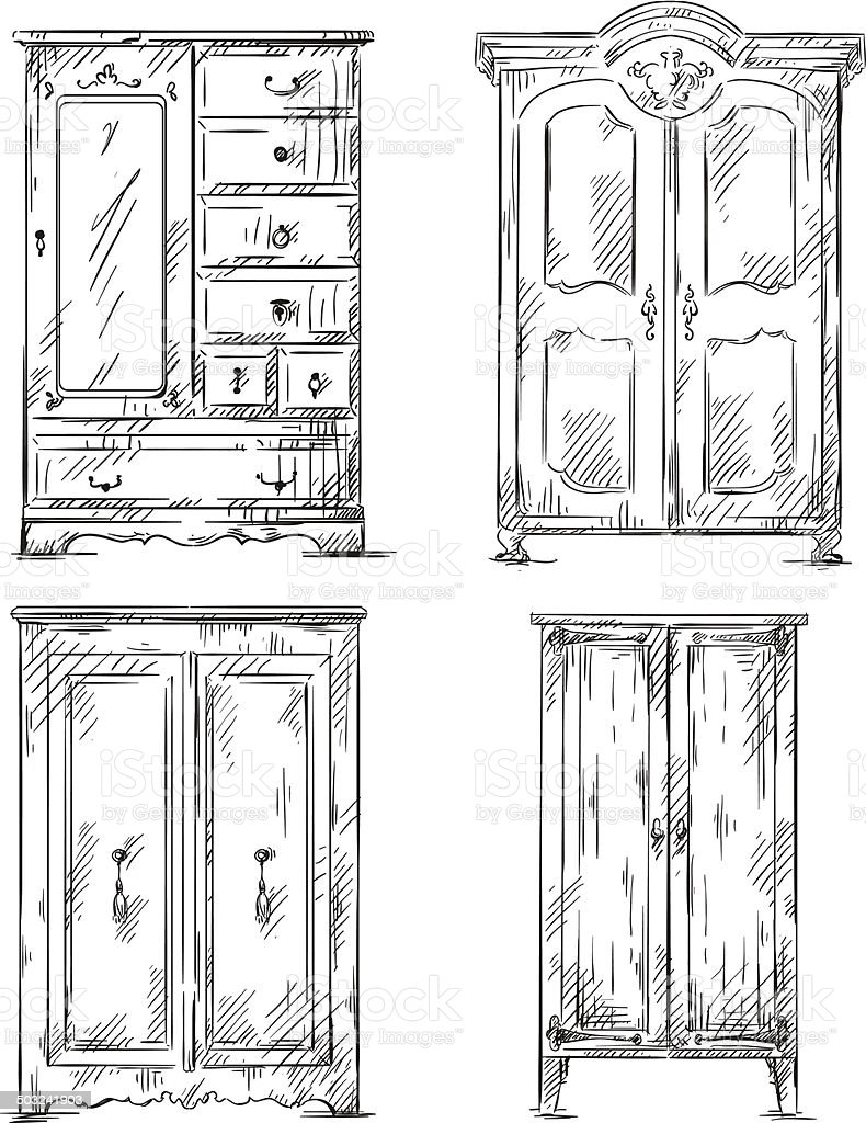 set of hand drawn wardrobes. Interior elements. Vector illustration. vector art illustration