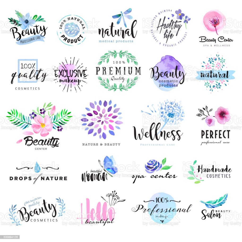 Set of hand drawn watercolor labels and badges for beauty vector art illustration