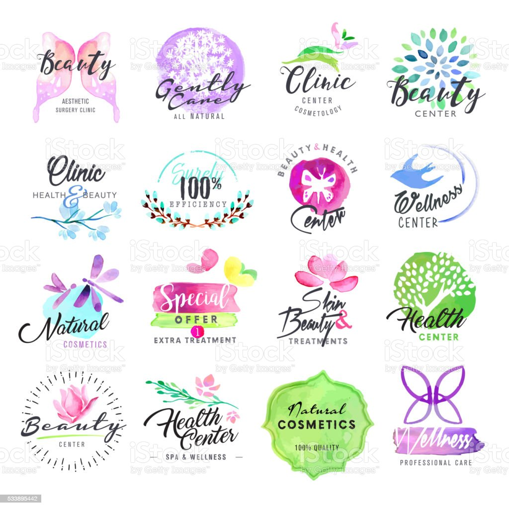 Set of hand drawn watercolor labels for beauty and cosmetics vector art illustration