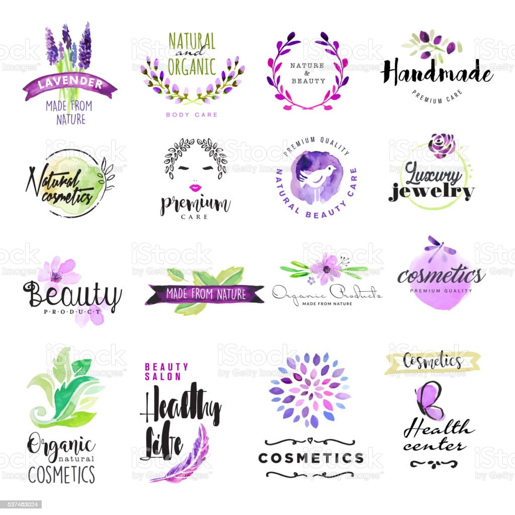 Set of hand drawn watercolor signs for beauty and cosmetics vector art illustration