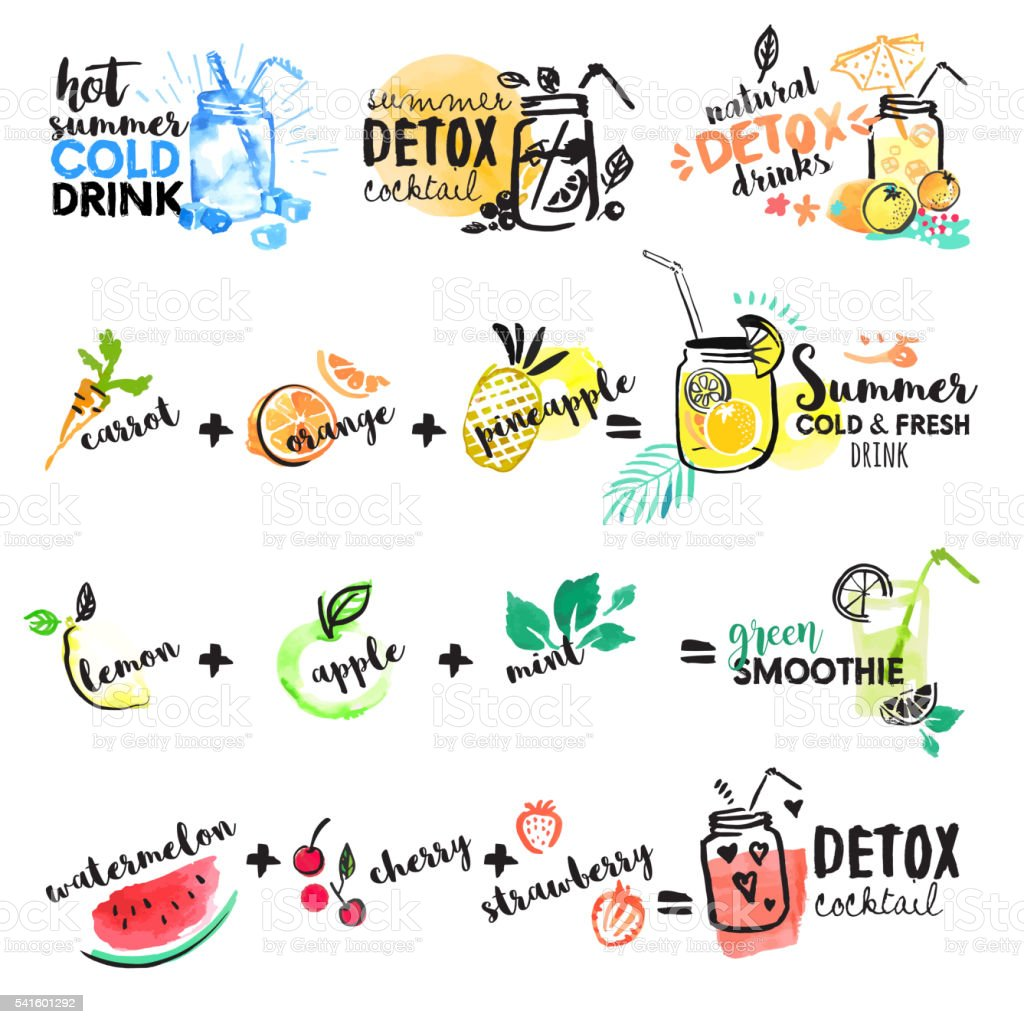 Set of hand drawn watercolor signs of summer drinks vector art illustration