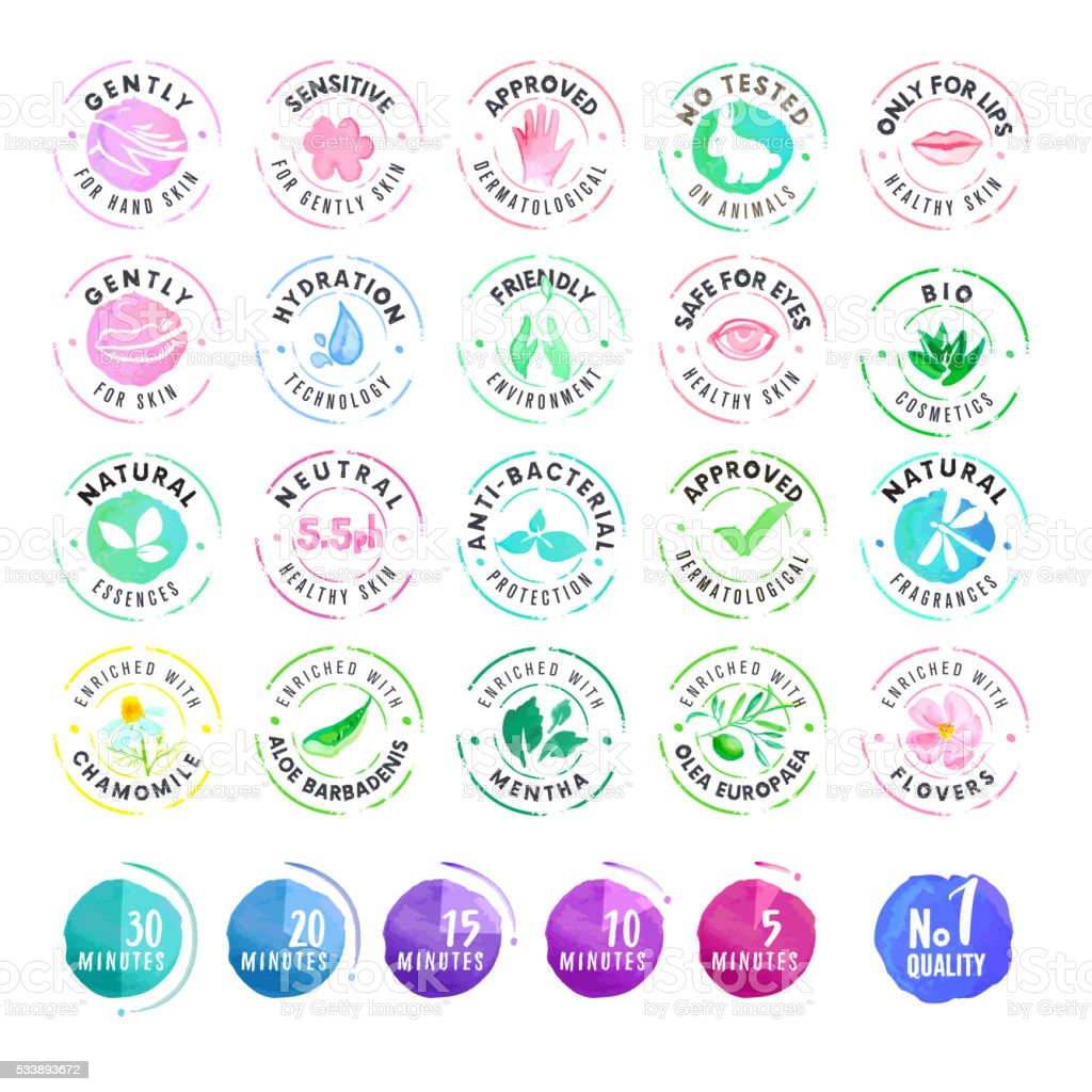 Set of hand drawn watercolor stickers for cosmetics vector art illustration