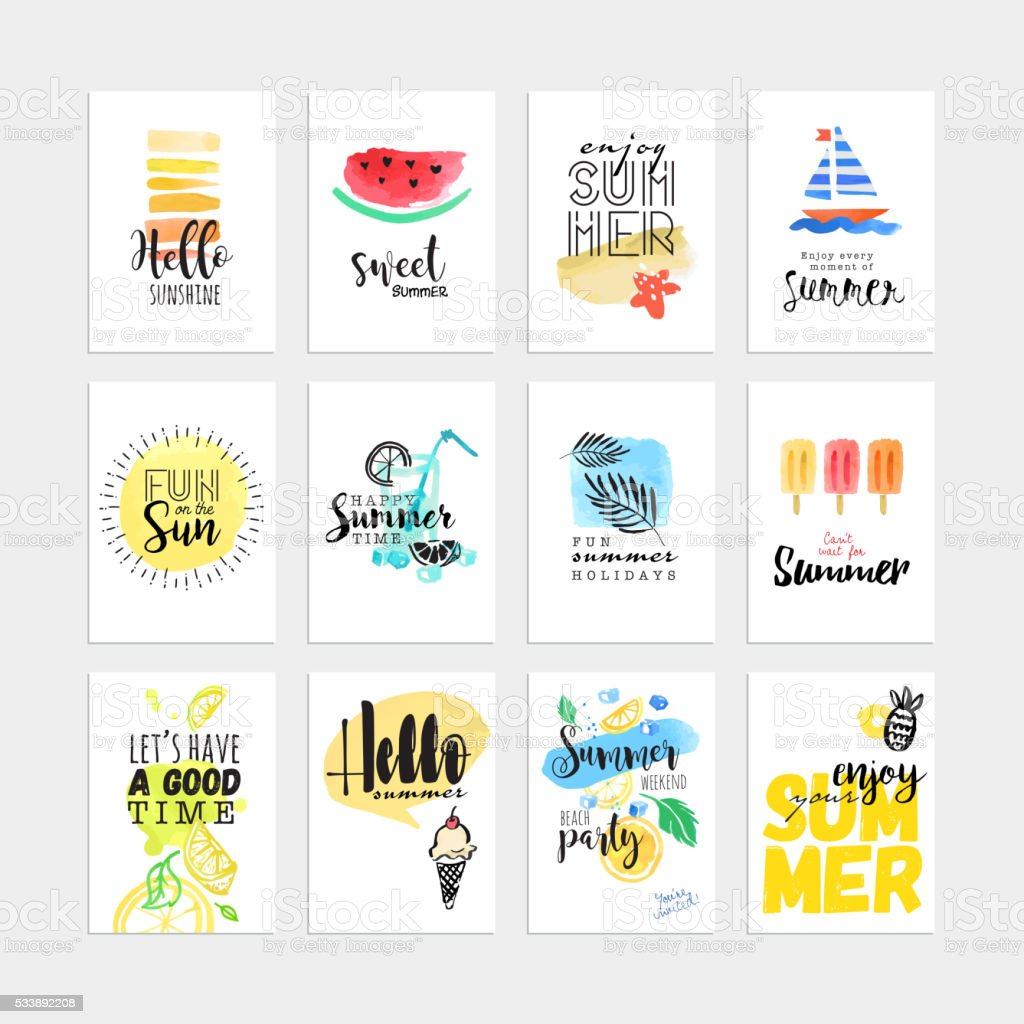 Set of hand drawn watercolor summer cards and banners vector art illustration