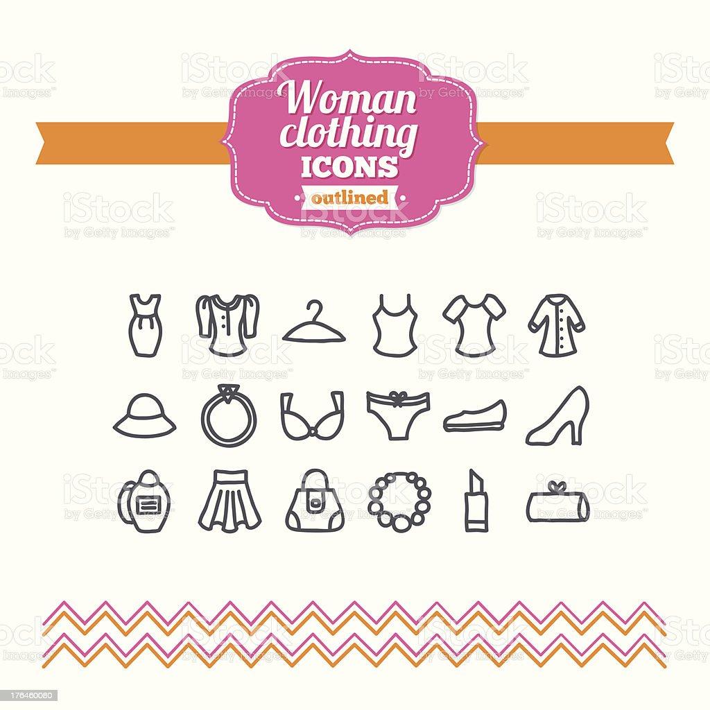 Set of hand drawn woman clothing icons vector art illustration