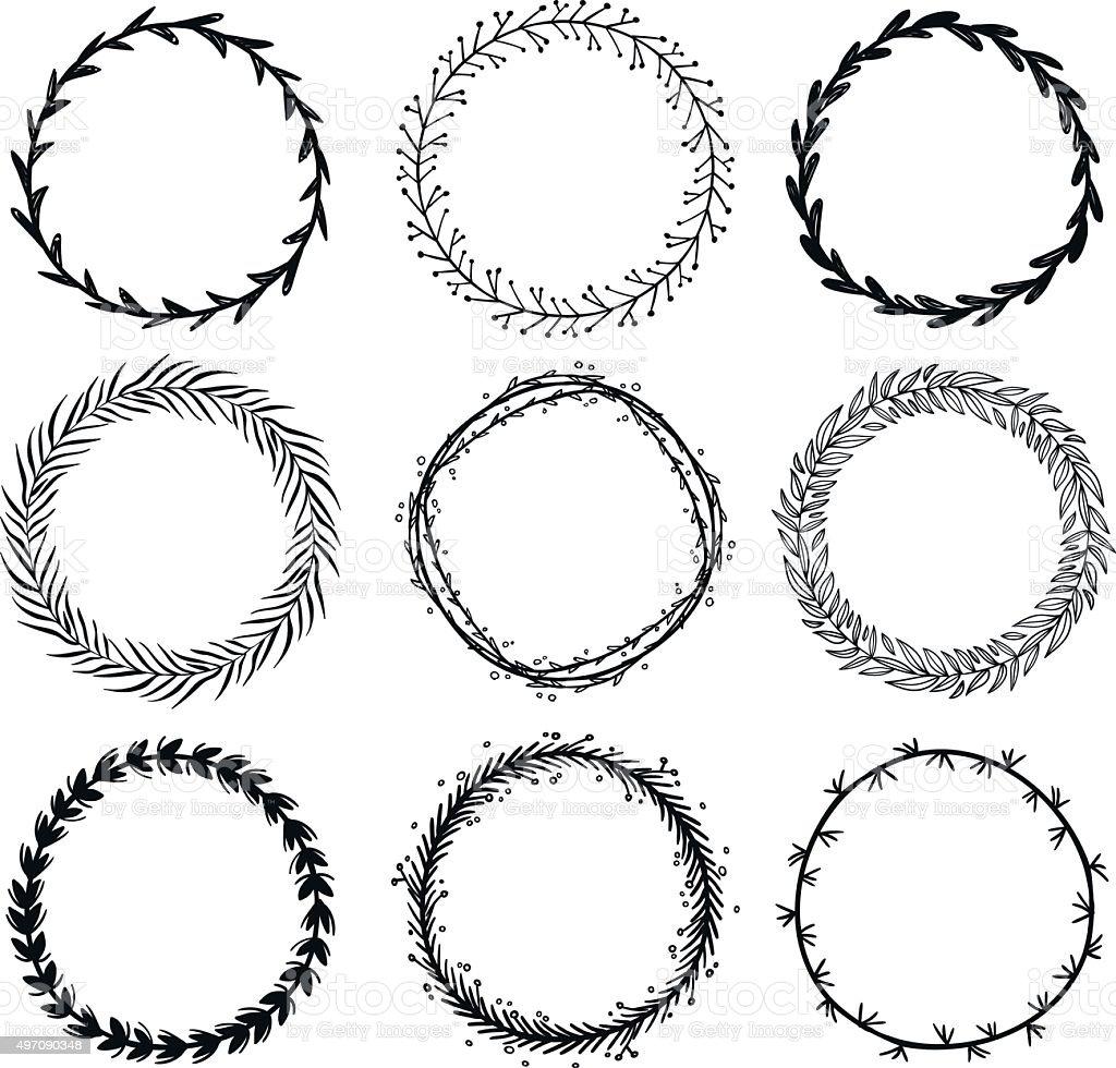 Set of hand drawn wreaths. Design elements vector art illustration