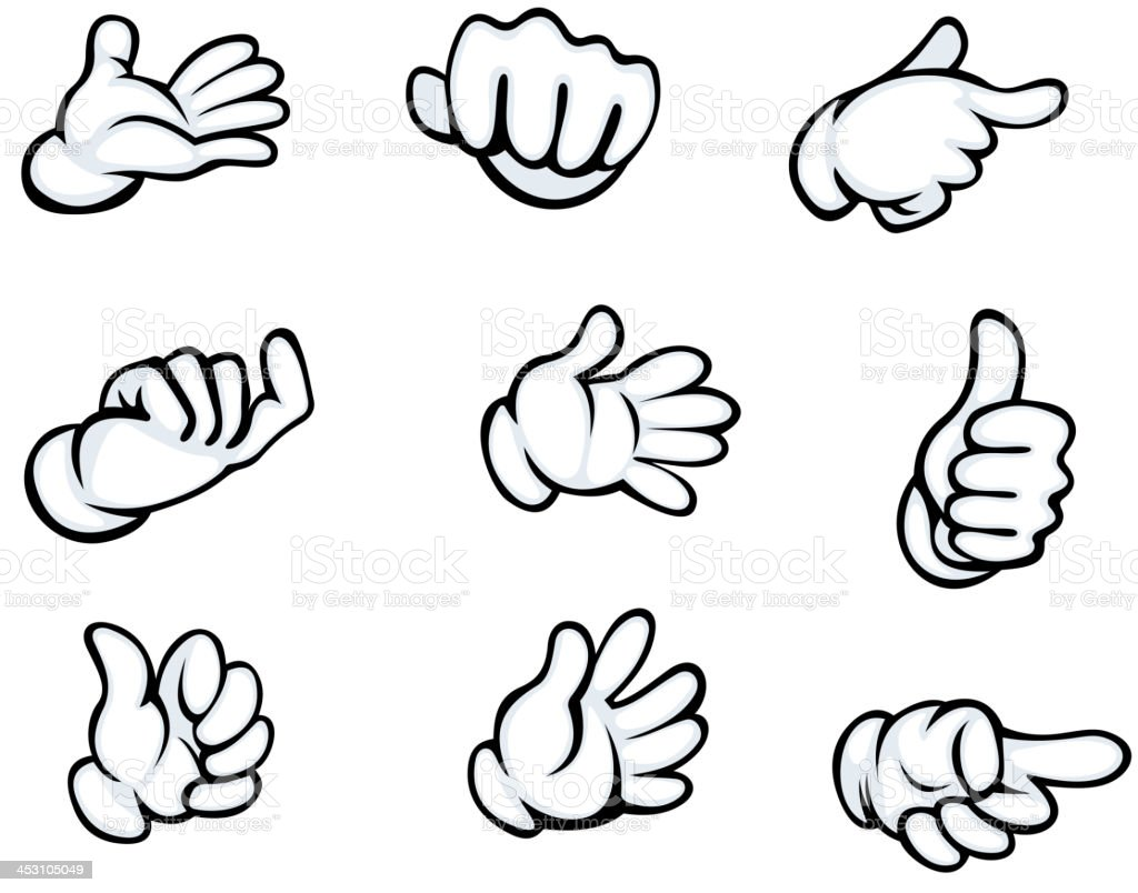Set of hand gestures vector art illustration
