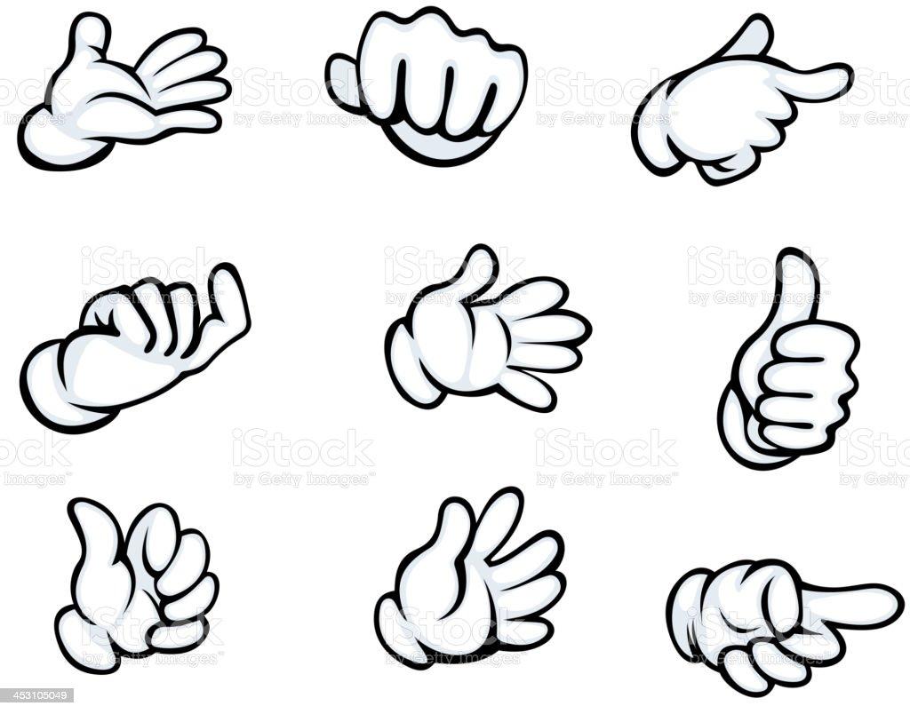 Set of hand gestures vector art illustration
