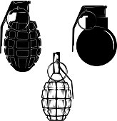 Set of hand grenades isolated on white background.